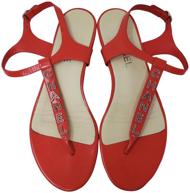 Item - Red Persimmon Leather Silver-tone Logo Sandals Size EU 39 (Approx. US 9) Wide (C, D)