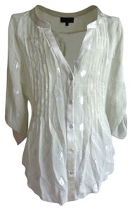 Hale Bob Silk Ebellished Silver Blouse Pin Tucks Button Down Shirt ecru