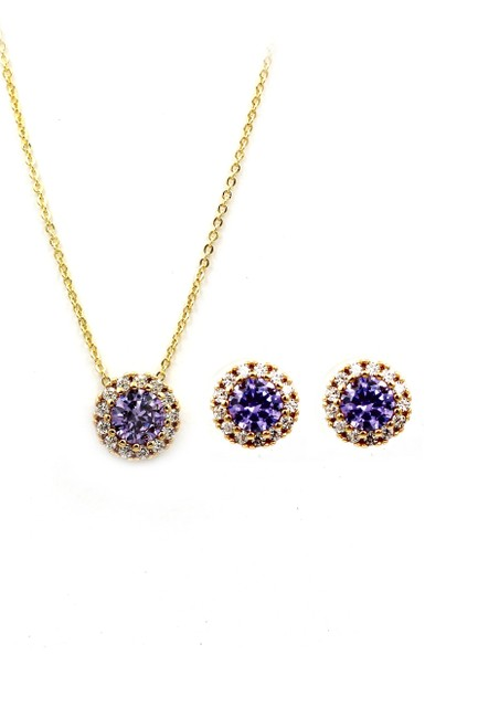 Item - Purple Gold Crystal Earrings Necklace
