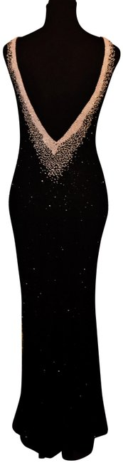 Item - Black / White Mermaid Beaded V Drop Gown Long Night Out Dress Size 4 (S)