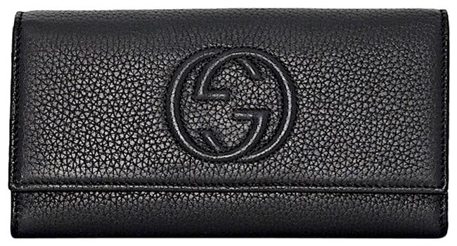 Item - Soho New Gg Flap Wallet Card Holder Tote Black Leather Clutch