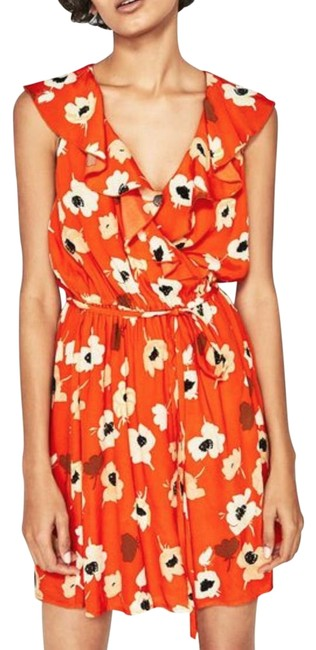 Item - Orange New Flowing Floral Print Crossover Ruffle Tunic M Short Cocktail Dress Size 8 (M)