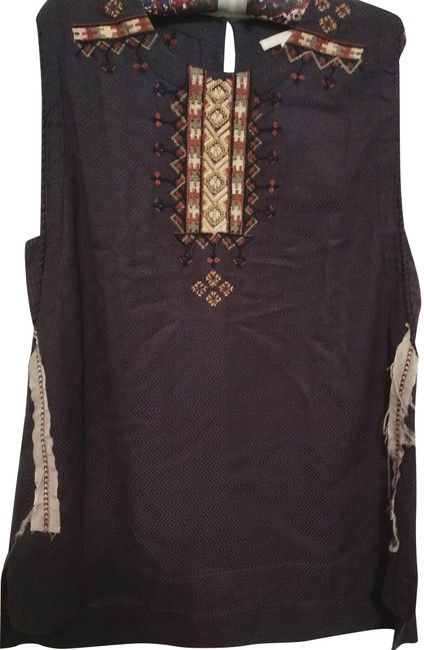 Item - Brown Multiple Embroidered Sleeveless Blouse Size 10 (M)