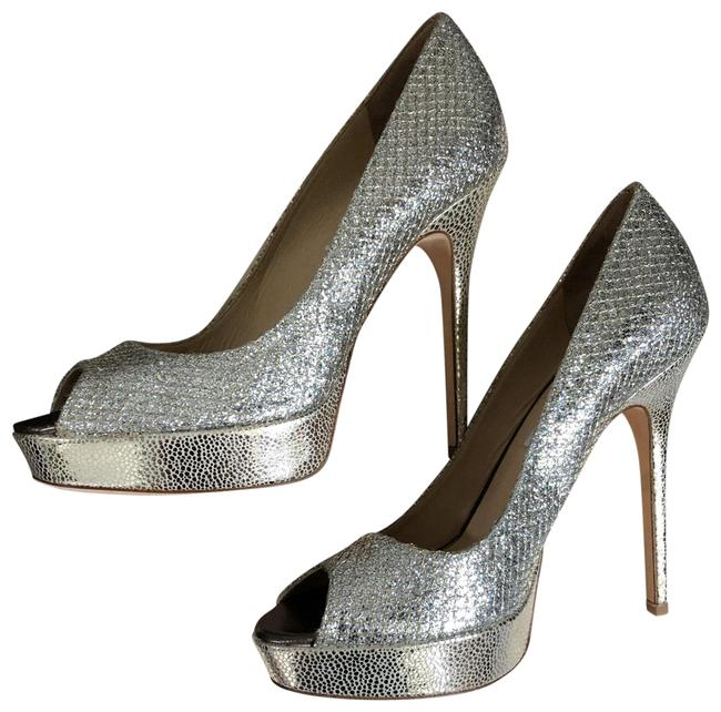 Item - Gold/Silver Champagne Peeptoe Platforms Size US 8 Regular (M, B)