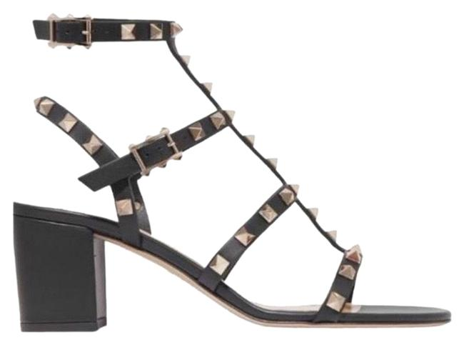 Item - Black Rockstud 60 Leather Chunky Heels Sandals Size EU 36.5 (Approx. US 6.5) Regular (M, B)