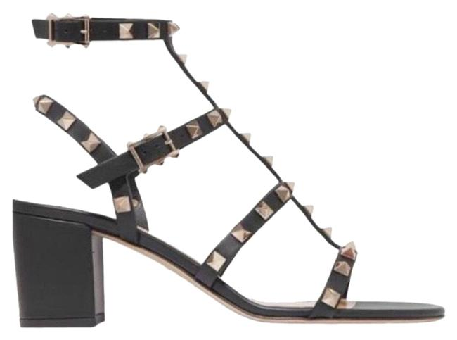 Item - Black Rockstud 60 Leather Chunky Heels Sandals Size EU 37 (Approx. US 7) Regular (M, B)