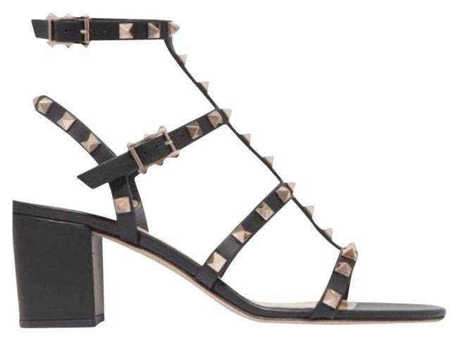 Item - Black Rockstud 60 Leather Chunky Heels Sandals Size EU 38.5 (Approx. US 8.5) Regular (M, B)