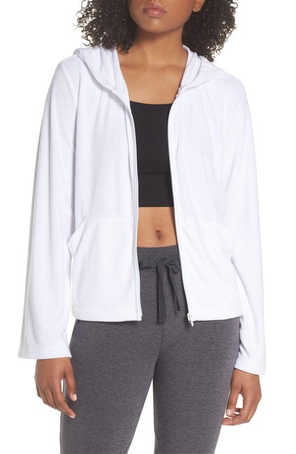 "Item - White ""Spa Zip Front French Terry Activewear Outerwear Size 16 (XL, Plus 0x)"