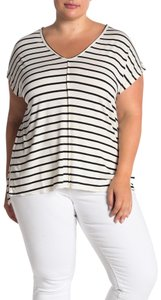 Bordeaux Striped Stretchy T Shirt White