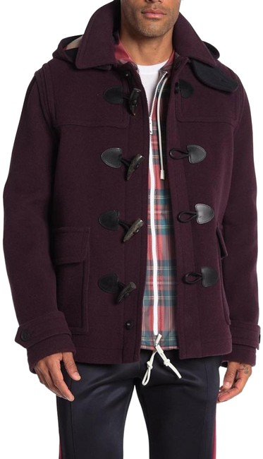Item - Dark Blackcurrant Duffle Mens Wool Jacket Black Medium Coat Size 10 (M)