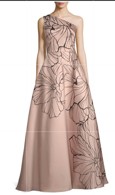 Carmen Marc Valvo Tan Embroidered Print Ball Gown Colored Long Formal Dress Size 14 (L) Carmen Marc Valvo Tan Embroidered Print Ball Gown Colored Long Formal Dress Size 14 (L) Image 3