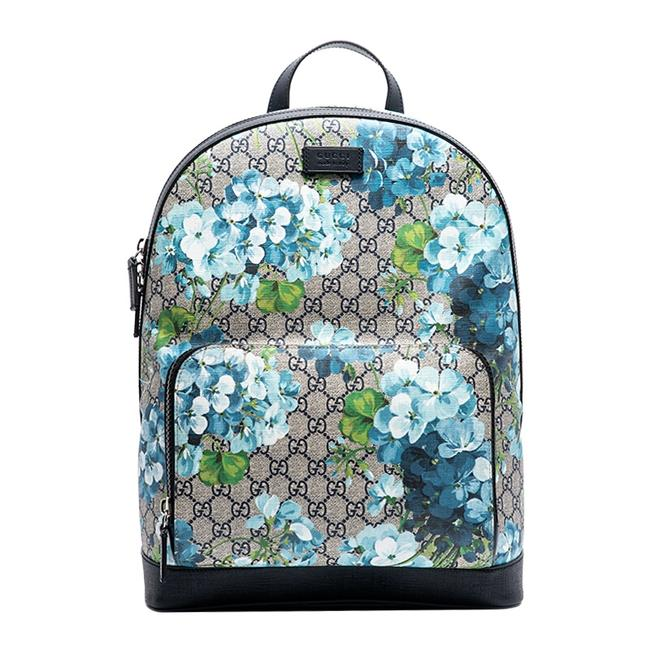 Item - 546324 Unisex Floral Blooms Large Beige and Blue Gg Supreme Canvas Backpack