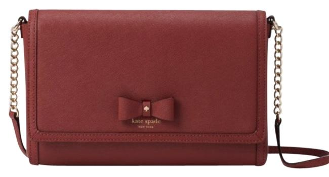 Item - Crosshatched Flap Crosby Red Wine/Gold Leather Cross Body Bag