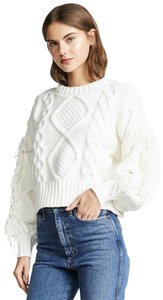Line & Dot Cable Knit Fringe Pointelle Puffy Sleeves Sweater