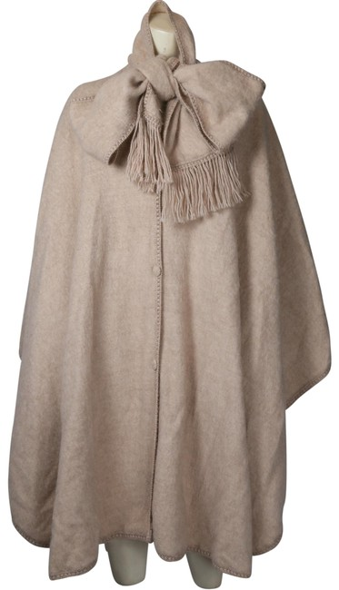 Item - Beige Alpaca Wool Cape with Wrap Tassel Shawl Scarf Coat Size OS (one size)