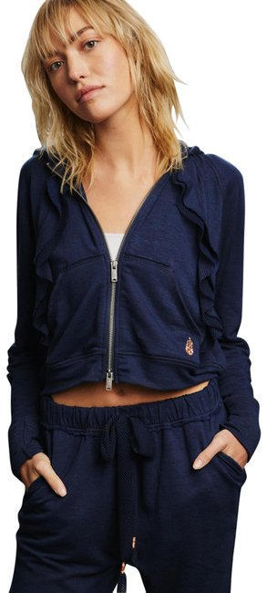 Item - Navy Movement Game Plan Zip Ruffle Sweatshirt/Hoodie Size 2 (XS)