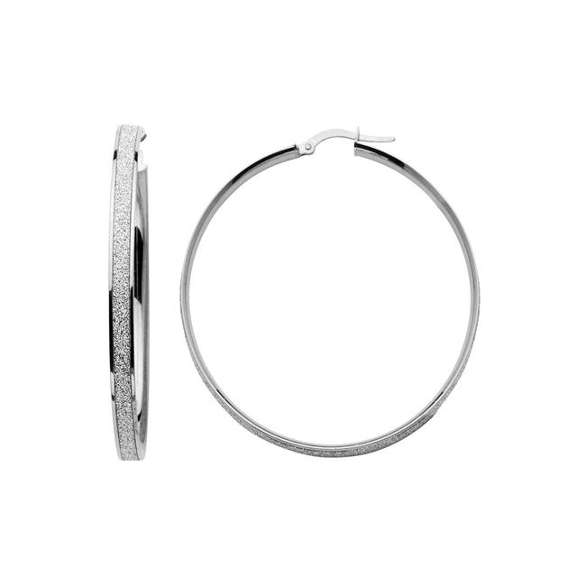 Item - White 14k 4mm Shimmer Satin Medium Hoop Earrings
