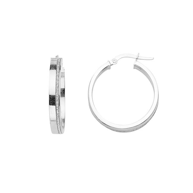 Item - White 14k 2mm Glitter Round Hoop Earrings