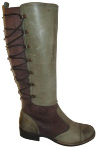 Naya Leather Distressed Onm004 green & brown Boots