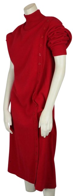 Item - Red Knit Wool Mock Neck Long Sleeve Mid-length Short Casual Dress Size 12 (L)