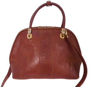 Marino Orlandi Cognac Leather Satchel in Brown