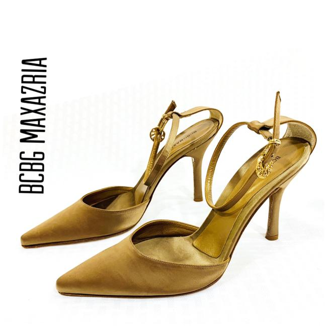Item - Gold Formal Fabric Rhinestone Heels Pumps Size US 7.5 Regular (M, B)