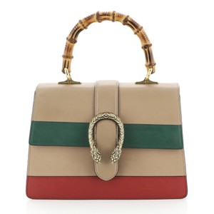 Gucci Top Handle Leather Tote in Brown, Green, Red