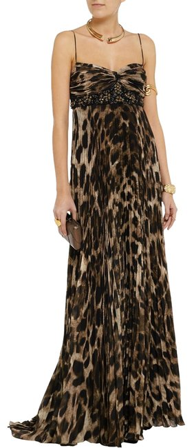 Item - Brown Animal Collection Embellished Leopard Print Gown Long Formal Dress Size 2 (XS)