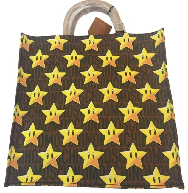 Item - Couture Jeremy Scott Super Mario Nintendo Stars Shopper Yellow Brown Multi Leather with Pvc Tote