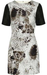 Tibi short dress White and Black Date Night Night Out Floral Print Color-blocking on Tradesy