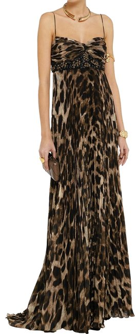 Item - Brown Animal Collection Embellished Leopard Print Gown Long Formal Dress Size 10 (M)