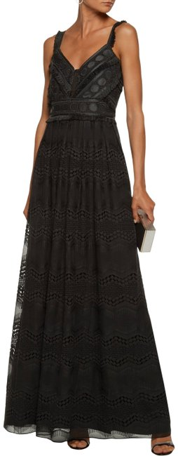 Item - Black Duntel Crochet Knit-paneled Embroidered Chiffon Gown Long Formal Dress Size 14 (L)