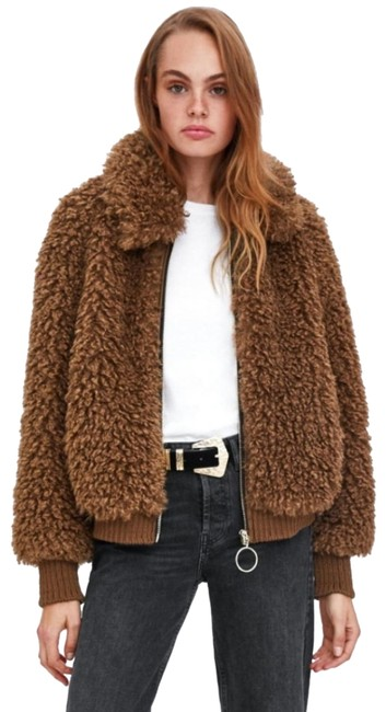 Item - Brown Faux Shearling Bomber Coat Size 12 (L)