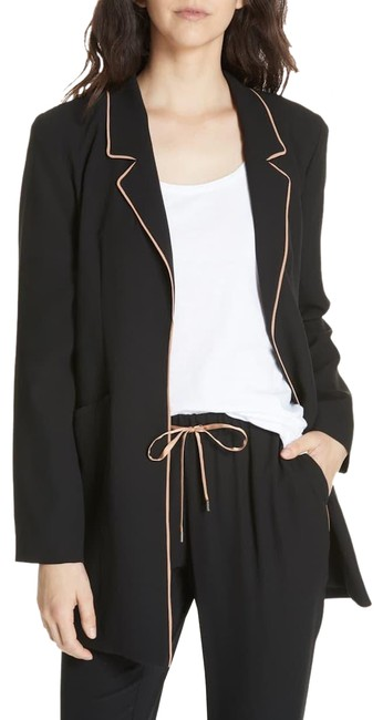 Item - Black Long Piped Trim Silk Casual Pp Blazer Size Petite 2 (XS)