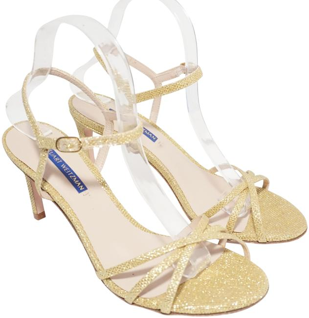 Item - Gold Glitter Starla 80mm Crisscross Metallic Sandals Size US 8.5 Regular (M, B)