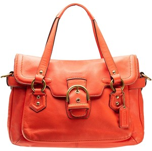 Coach Campbell F27231 / 27231 Leather Smooth Leather Satchel in Hot Orange