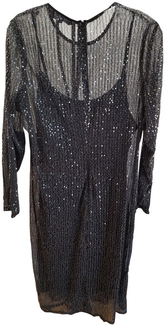 Item - Black / Silver Sequin Midi Mid-length Night Out Dress Size 22 (Plus 2x)