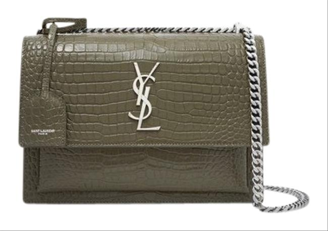 Item - Sunset Medium In Crocodile Embossed Shiny Green Leather Cross Body Bag