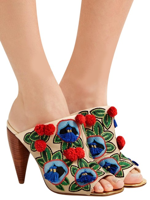 Item - Beige Red Green Blue Ellis Embellished Leather Peep Toe Mules/Slides Size US 5.5 Regular (M, B)