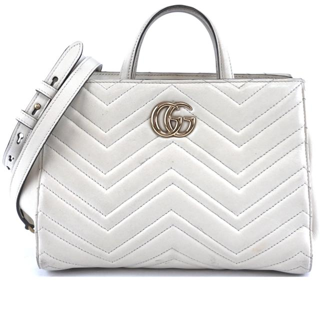 Item - Tote Marmont #34688 Rare Gg Logo Quilted Top Handles Matelasse Satchel Off-white Leather Shoulder Bag