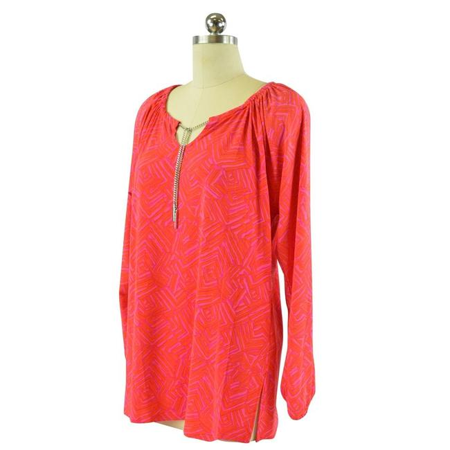 Item - Red Pink Long Sleeve Geometric Chain Tunic Beach Blouse Size 8 (M)
