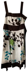 Speechless short dress brown and white with floral pattern on Tradesy