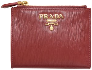 Prada PRADA VITELLO MOVE I Compact Wallet Folded Wallet Leather Rubino Red