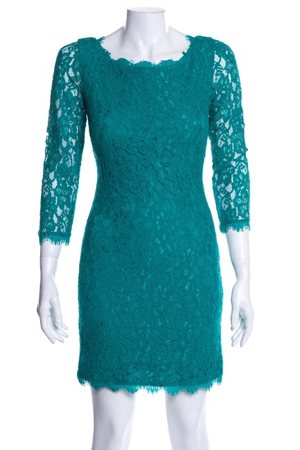 Item - Green Dvf Lace Short Cocktail Dress Size 2 (XS)