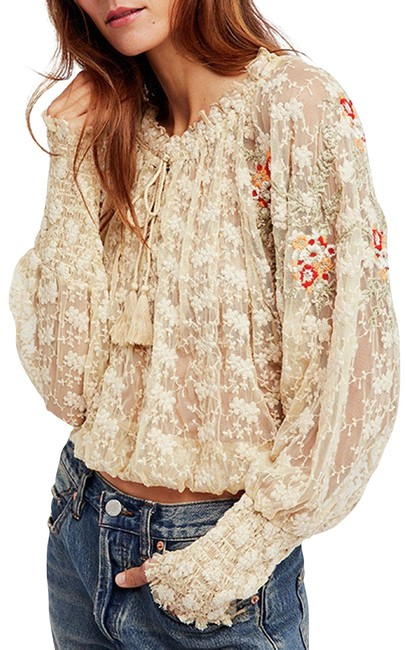 Item - Ivory Sheer Embroidered Blouse Size 8 (M)