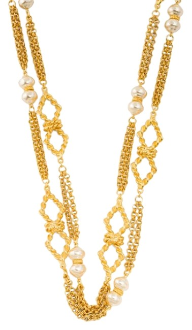 Item - Gold 24k Plated Pearl Station Long Necklace