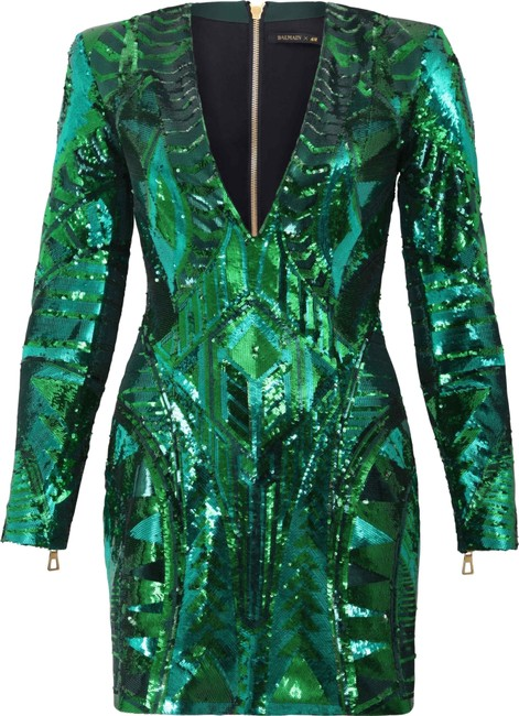 Item - Green Sequins Chunky Gold Zipper. Short Night Out Dress Size 6 (S)