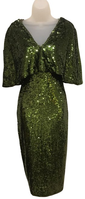 Club L Olive Green Sequin Hour-glass Winged-sleeve Old Hollywood Long Formal Dress Size 4 (S) Club L Olive Green Sequin Hour-glass Winged-sleeve Old Hollywood Long Formal Dress Size 4 (S) Image 1
