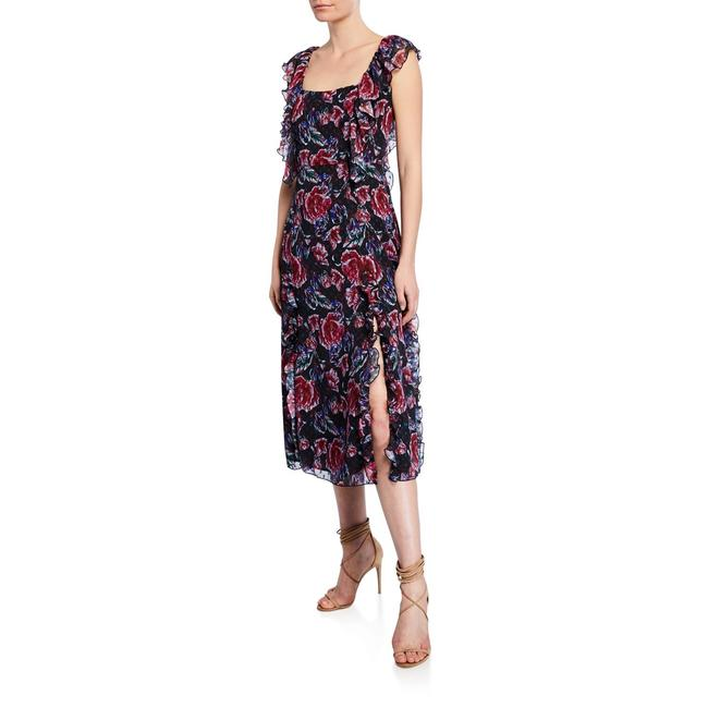 Item - Black Floral Ardour Mid-length Cocktail Dress Size 8 (M)