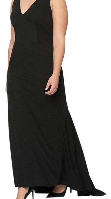 Eloquii Black Deep V Gown Long Formal Dress Size 20 (Plus 1x) Eloquii Black Deep V Gown Long Formal Dress Size 20 (Plus 1x) Image 1